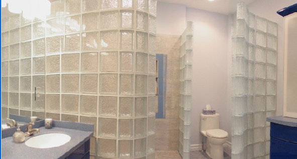 Custom Glass Block Master Bath